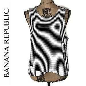 Banana Republic Striped Tank Top w/Zipper